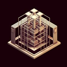 Technological Pattern Low-Poly [Isometrics] by Timothy J. Reynolds, via Behance Isometric Drawing, Isometric Design, Computer Generated Imagery, Low Poly 3d Models, Projection Mapping, 3d Max, Environmental Art, Motion Design, Geometric Shapes