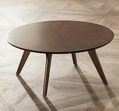 Ellias Scandinavian Veneer Medium Walnut Round Coffee Table