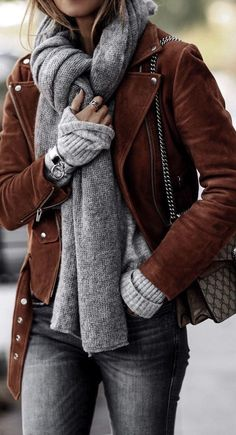 Brown suede jacket over all gray.