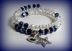 Star Football Charm Beaded Blue White Swarovski Faux Crystal and Glass Pearls Double Wrap Memory Wire Bracelet #62