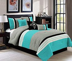 Modern 7 Piece (California) CAL KING Bedding Aqua Blue / Black / Grey Quilted Stripe Comforter Set with accent pillows -- Check out the image by visiting the link. Comforter Sale, Teal Comforter, Queen Comforter Sets, Teal Bedding Sets, Luxury Bedding Sets, Modern Bedding, Unique Bedding, Rustic Bedding, Boho Bedding
