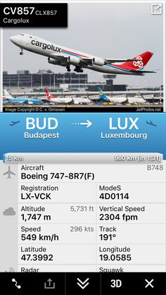 Flight CV857 from Budapest to Luxembourg http://fr24.com/CLX857/a80715b