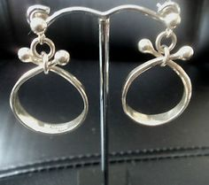 Modernist Silver Earrings - Anna Greta Eker / Tone Vigeland Norway Plus Design $215