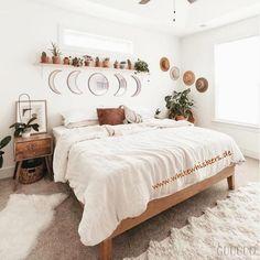 Room Ideas Bedroom, Home Bedroom, Boho Teen Bedroom, Peaceful Bedroom, Boho Chic Bedroom, Cozy Bedroom Decor, Cozy White Bedroom, Ikea Bedroom, Bright Bedroom Ideas