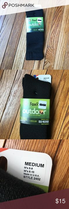 Outdoor Thermal Over the Calf Cold Weather Socks Thermal over-the-calf merino wool cold-weather heavyweight outdoor socks. Made with wick dry technology, made in USA. Brand new. Size medium. Men's shoe size 5-9, women's shoe size 6-10. Fox River Accessories Hosiery & Socks