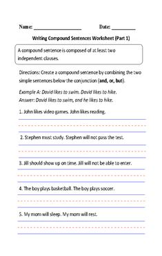 Simple and Compound Sentences Worksheet | Englishlinx.com Board ...