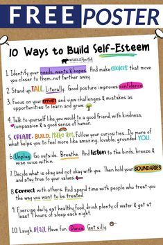 Free Social Emotional Learning Poster for School, Home: Ways to Build Self-Esteem Teachers, School Counselors and Parents! I designed this poster as a reminder of ways we can all build self-esteem in our young ones. Self-e Elementary School Counseling, School Social Work, Group Counseling, Counseling Activities, Therapy Activities, School Counselor Door, Coping Skills, Social Skills, Life Skills