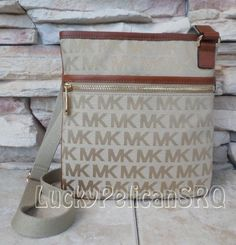 MICHAEL KORS Jet Set Large Luggage Beige Brown MK Signature Crossbody Bag  NWT #MichaelKors #MessengerCrossBody