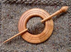 Grooved Cherry Wood Shawl Pin