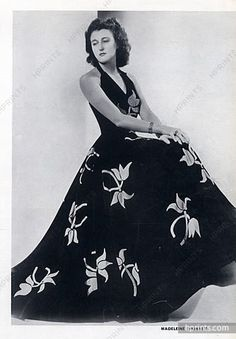 Madeleine Vionnet 1938 black and white flowers Evening Gown, Embroidery