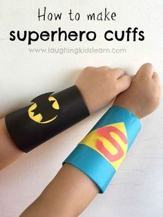 Simple superhero craft for kids. Here is the instructions on how to make Superhero cuffs using toilet rolls tubes, perfect for pretend play and more. art for kids How to make Superhero cuffs using toilet roll tubes - Laughing Kids Learn Crafts For Boys, Toddler Crafts, Preschool Crafts, Diy For Kids, Fun Crafts, Simple Crafts For Kids, Toddler Play, Summer Crafts, Crafts For Children