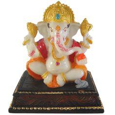 Sitting Mukut Ganesh / Ganesha / Ganpati Statue Marble Finish