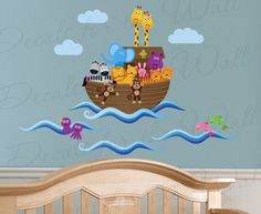 Noah's Ark and Animals Nursery Bible Wall Decal Graphic