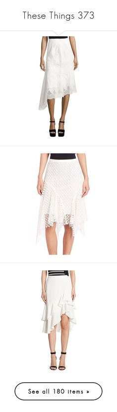 """""""These Things 373"""" by katiemarilexa ❤ liked on Polyvore featuring skirts, ivory, white a line skirt, ivory lace skirt, midi skirt, calf length skirts, knee length a line skirt, antique white, long asymmetrical skirt and elastic waist skirt"""