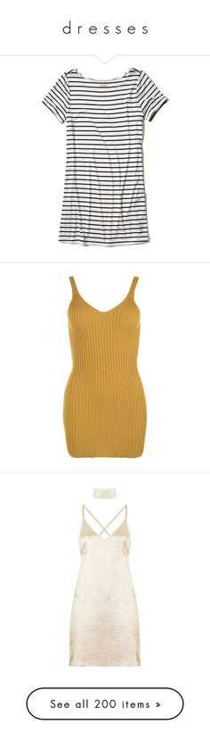"""d r e s s e s"" by mysquadtoowavy ❤ liked on Polyvore featuring dresses, tops, white stripe, tee shirt dress, t-shirt dresses, striped jersey dress, white t shirt dress, stripe t shirt dress, mustard and v neck bodycon dress"