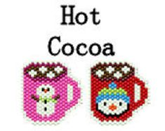 Seed Bead Pattern Brick or Peyote Stitch Gift Tag Ornament Holiday Christmas Hot Cocoa Chocolate Snowman Penguin Mugs Cups Digital Instant