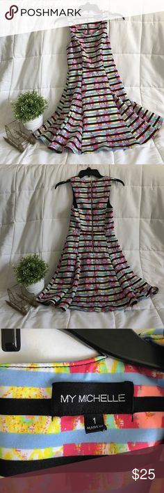 Dress Perfect condition. Gold zipper. Striped pattern. My Michelle Dresses