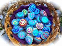 Basket of Peace Rocks for International Peace Day