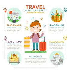 Bom viajante com elementos de viagem infografia Vetor grátis