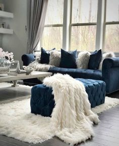 Living room home furniture tips ideas for developing a theme 31 – Interior 2020 Blue Living Room Decor, Glam Living Room, Living Room Grey, Living Room Interior, Living Room Designs, Blue Living Room Furniture, Living Room Ideas Grey And Blue, Living Room Themes, Bedroom Decor