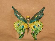 Decorative Green effect Butterfly - Savvas Pottery Cyprus by Savvas Pottery, via…