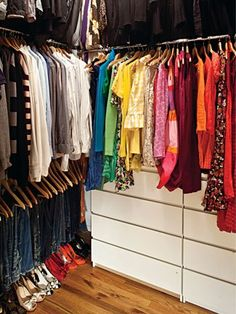 Color code your closet    Organizing your items by color looks beautiful, and it makes things easy to find. I especially love to color code handbags. They're often the most expensive part of your outfit, so treat them right! Do not pack away your bags in drawers or hang them. Preserve them well by stacking them together evenly by size or color on a dedicated shelf.