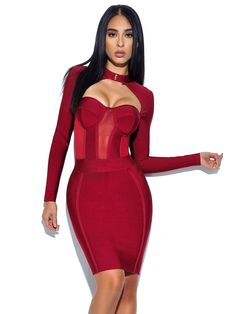 The cut of this dress is simply stunning. We love the bustier chest for a dramatic effect, while the high neck and long sleeves contribute to the dress's overall elegance. The carefully crafted studs