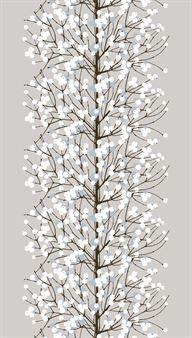 Marimekon beigeä Lumimarja-vahakangasta koristaa kaunis kuosi, jossa puun oksilla on valkoisia marjoja. Vaaleat värit sopivat sekä kesäiseen pöytään että talviseen kattaukseen.