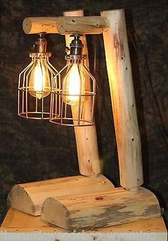 Rustic Log Lamp w/ Edison bulb - Lodge, Western, Vintage, Log Cabin Furniture - Shipping Is $19.00 for each pair