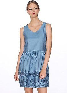 UK 10, Blue - Blue, Pepa Loves Women's Denim Sleeveless Dress NEW