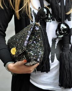 sequined clutch.