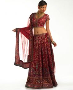 This is what a Indian bride likes to wear on her wedding. Red is the colour for wedding dress.