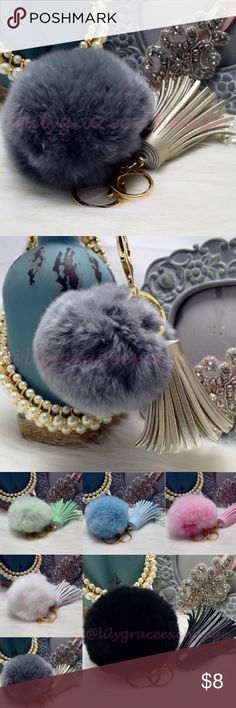 Grey pom pom fur ball keychain with tassel NWOT! Brand new!! Made with Rabbit fur & PU leather Gold hardware.  Size: (approx) Ball Diameter = 8cm  Its a keychain, you can also use it to put as purse charm, key fob or whatever your heart desires.   Great gift for your family, friends or your self.  ** color might be slightly different cause of the lightning  Great for your Louis Vuitton, Prada, Fendi, Chanel, Michael Kors, Gucci, Coach Tory Burch, Kate spade, Marc jacobs and others…