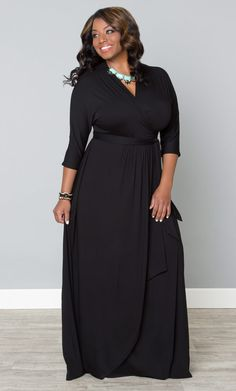 Wrap yourself up in easy style with our plus size Wrapped in Romance Dress.  Dolman sleeves and a beautiful draped front make this fully functional wrap maxi a signature go-to piece.  www.kiyonna.com  #KiyonnaPlusYou  #Plussize  #MadeintheUSA  #Kiyonna