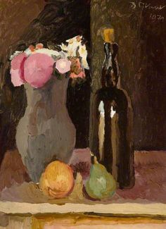 Still Life of Flowers with Bottle and Fruit - 1929 - Duncan Grant