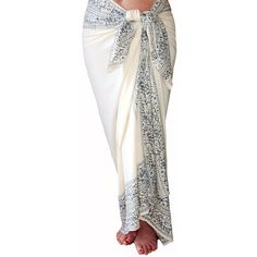 Ivory and Gray Beach Sarong Womens Swimsuit Coverup Batik Pareo Floral...  ( 39. Sarong SkirtSarong ... 2f4a34c4f