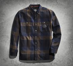 Hand-warmer pockets and a quilted lining morph our guy's shirt into something more hearty. | Harley-Davidson Men's Plaid Shirt Jacket