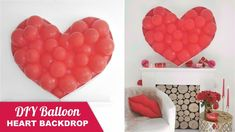 Today I'm sharing a super easy to make but stunning DIY balloon heart decor that makes the perfect backdrop or statement piece for Valentine's Day, a bridal . Balloon Backdrop, Diy Backdrop, Balloon Garland, Backdrops, Balloon Ideas, Festive Crafts, Diy And Crafts, Diy Ballon, Flying Balloon