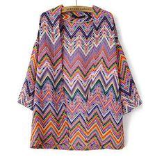 24,90EUR Kimonojacke mit zickzack Muster bunt