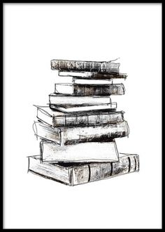 Sorthvid plakat med gamle bøger