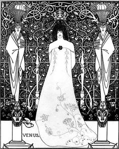 """Venus between Terminal Gods"" 1895 Drawing with India ink by Aubrey Beardsley. Found at the Cecil Higgins Art Gallery, Bedford, United States."
