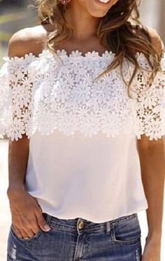 Women's Off Shoulder Lace Chiffon Patchwork Top by PinkPrettyBoutique on Etsy