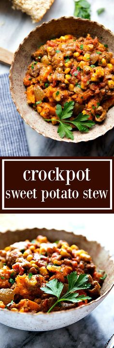 The BEST crockpot sweet potato stew. Hearty, healthy, delicious, and simple to make in the slow cooker!