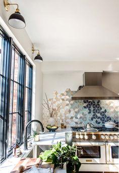 Heartbeet Kitchen Before & After: Small Kitchen, Big Backsplash – Mercury Mosaics White Countertops, Butcher Block Countertops, Modern U Shaped Kitchens, Shaker Cabinets, Tile Installation, Cabinet Styles, Color Tile, Tile Design, White Walls