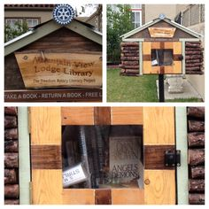 """Free lending library-this one sponsored by the Freedom Rotary Literacy Project. """"Take a book"""" """"return a book"""" """"free library"""""""