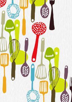 Kitchen Utensils Art ruth allen, via kickcan & conkers | colorize | pinterest | style