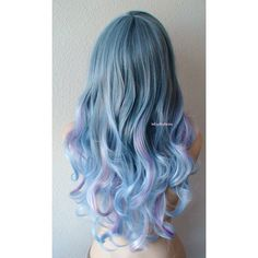 Pastel Wig Blue Lavender Pink Color Wig Long Curly Hair Wig Durable... (1.305 DKK) ❤ liked on Polyvore featuring beauty products, haircare, hair styling tools, hair, hairstyles, wig and curly hair care