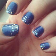 Jewel blue nails with sparkly glittered tips.  (Base coat L'Oreal Jet Set to Paris, top coat Revlon Stunning)