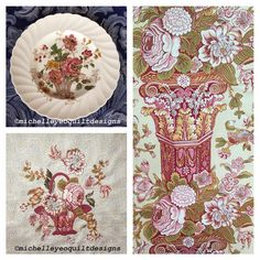 Chelsea Rose revisited and much more like my inspirational plate. Feeling happy! Thanks Di Ford Hall! Pattern available from www.michelleyeoquiltdesigns. @cloverdalehouse
