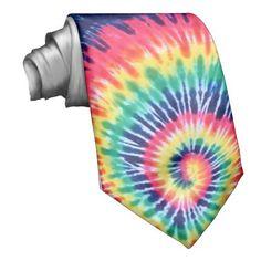 Rainbow Spiral - Tie-Dye Tie